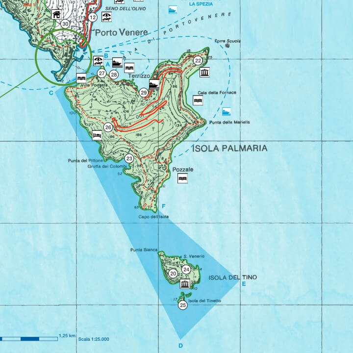 Mappa dell'Isola Palmaria con evidenziata l'Area di Tutela Marina